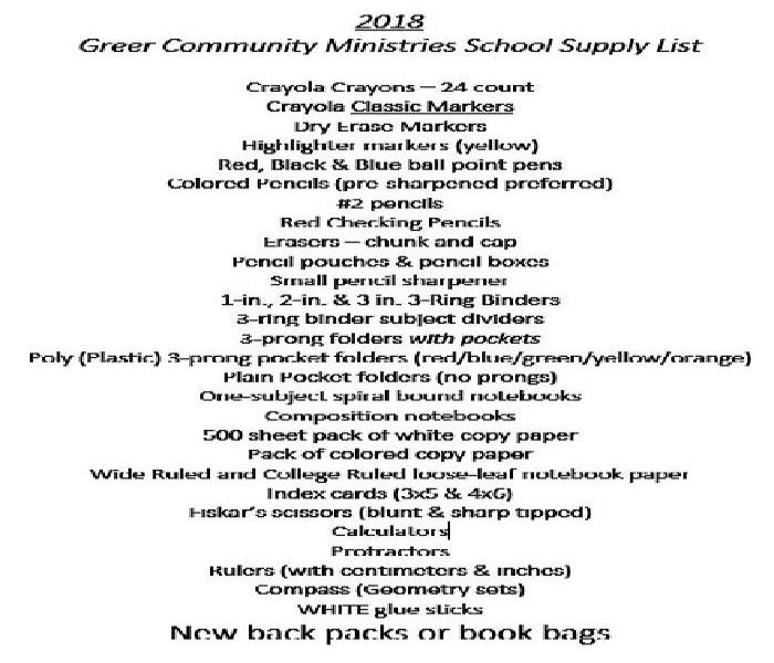 Community Greer Community Ministries teams with SERVPRO of East Greenville County for a School Supply Drive.